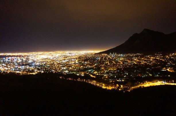 Cape Town at night from the Signal Hill.
