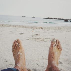 My feet at the Clifton Beach, Cape Town.