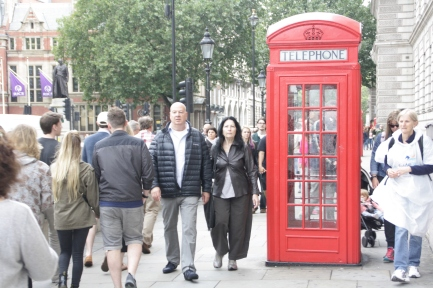 The famous british telephone booth.
